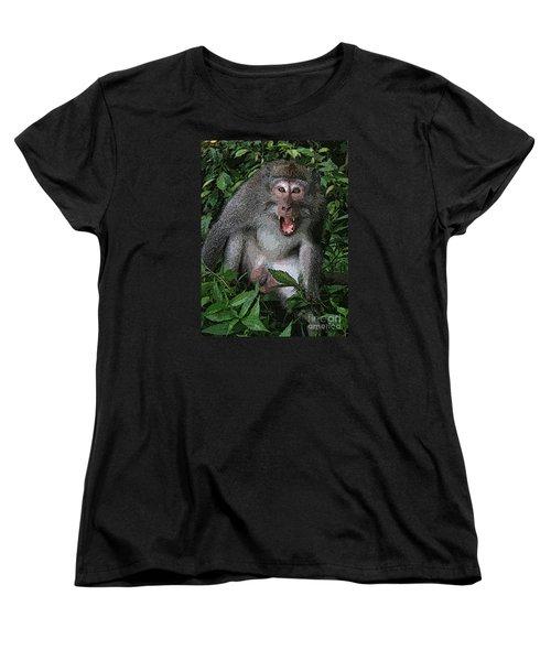 Aggressive Monkey From Bali Women's T-Shirt (Standard Cut) by Sergey Lukashin