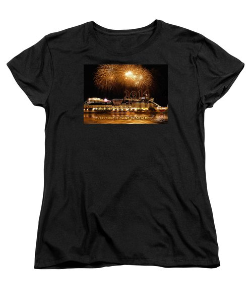 Women's T-Shirt (Standard Cut) featuring the photograph Aida Cruise Ship 2014 New Year's Day New Year's Eve by Paul Fearn