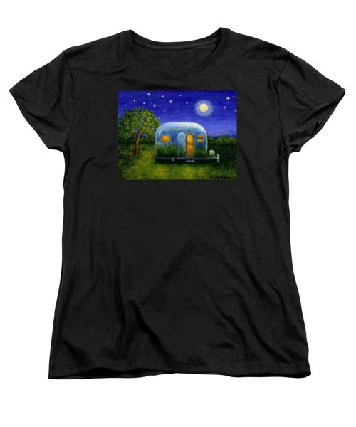 Women's T-Shirt (Standard Cut) featuring the painting Airstream Camper Under The Stars by Sandra Estes