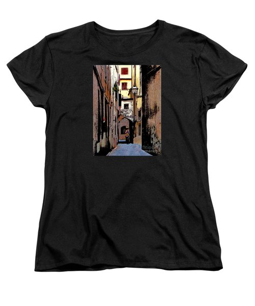 Women's T-Shirt (Standard Cut) featuring the digital art Alley In Florence 2 Digitized by Jennie Breeze
