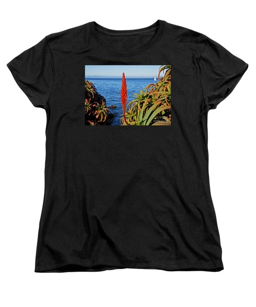 Aloe Arborescens Flowering At Pacific Grove Women's T-Shirt (Standard Cut) by Susan Wiedmann