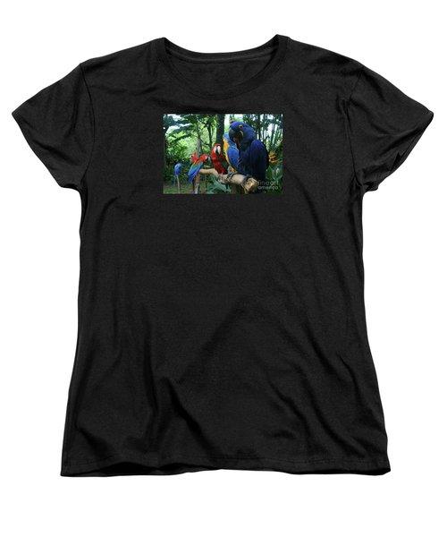 Aloha Kaua Aloha Mai No Aloha Aku Beautiful Macaw Women's T-Shirt (Standard Cut) by Sharon Mau