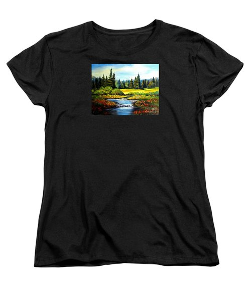 Women's T-Shirt (Standard Cut) featuring the painting Alpine Meadow by Hazel Holland