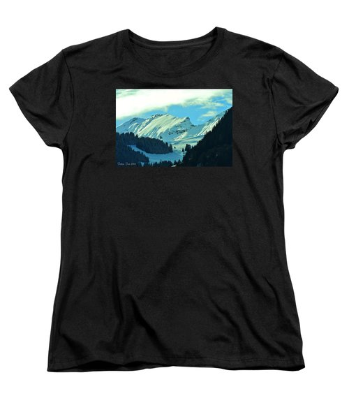 Alps Green Profile Women's T-Shirt (Standard Cut) by Felicia Tica