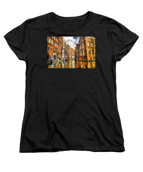 Women's T-Shirt (Standard Cut) featuring the painting Amasterdam Houses In The Water by Georgi Dimitrov