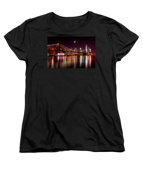 Women's T-Shirt (Standard Cut) featuring the photograph Amazing New York Skyline And Brooklyn Bridge With Moon Rising by Mitchell R Grosky