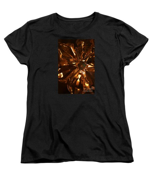 Amber Crystal Snowflake Women's T-Shirt (Standard Cut) by Linda Shafer