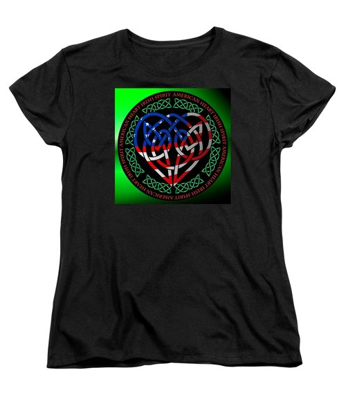Women's T-Shirt (Standard Cut) featuring the digital art American Celtic Heart by Ireland Calling