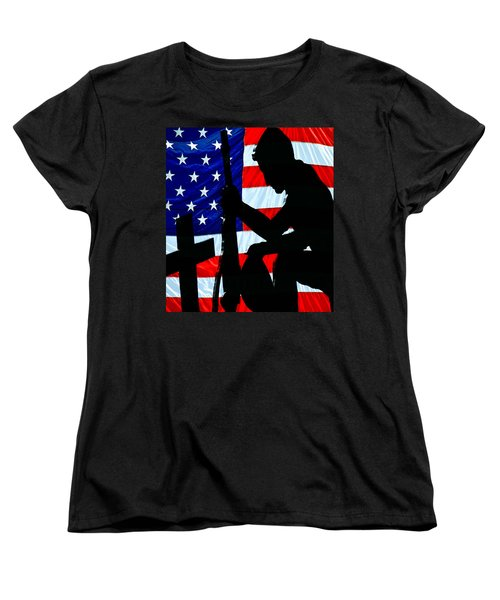 A Time To Remember American Flag At Rest Women's T-Shirt (Standard Cut) by Bob Orsillo