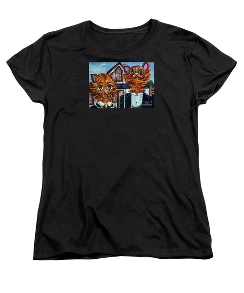 Women's T-Shirt (Standard Cut) featuring the painting American Gothic Cats - A Parody by Eloise Schneider