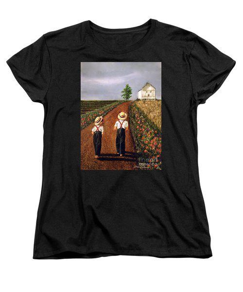 Amish Road Women's T-Shirt (Standard Cut) by Linda Simon