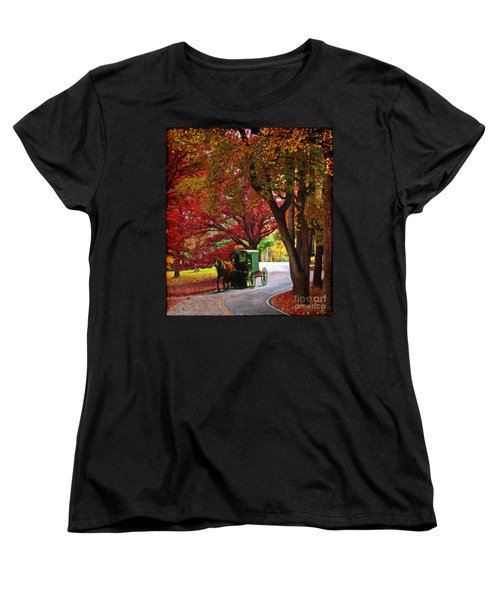 An Amish Autumn Ride Women's T-Shirt (Standard Cut) by Lianne Schneider