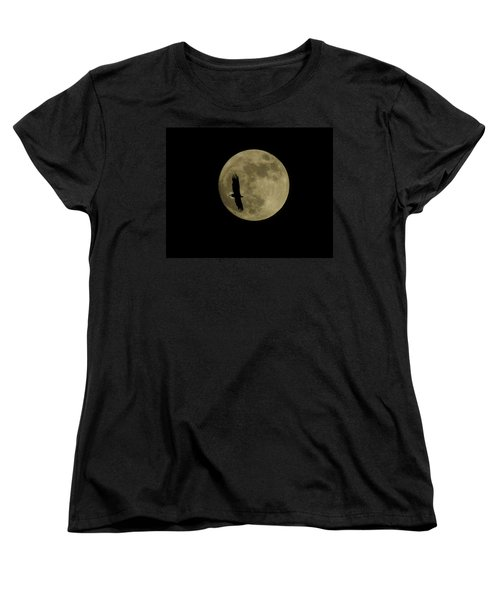 Women's T-Shirt (Standard Cut) featuring the photograph An Eagle And The Moon by Mark Alan Perry