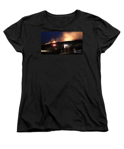 Women's T-Shirt (Standard Cut) featuring the photograph An Engine Crew Works At Night On White Draw Fire by Bill Gabbert