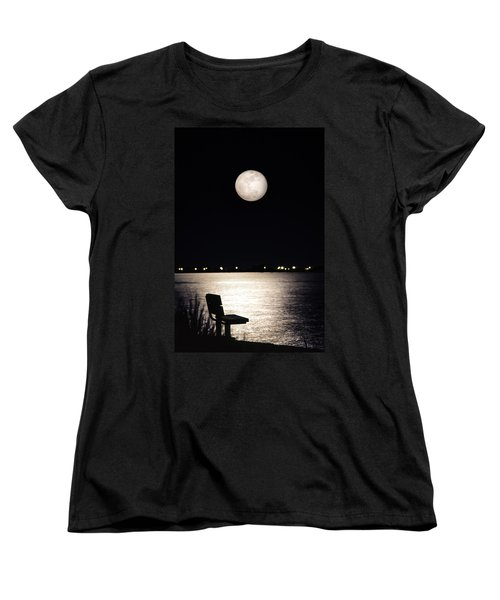 And No One Was There - To See The Full Moon Over The Bay Women's T-Shirt (Standard Cut) by Gary Heller