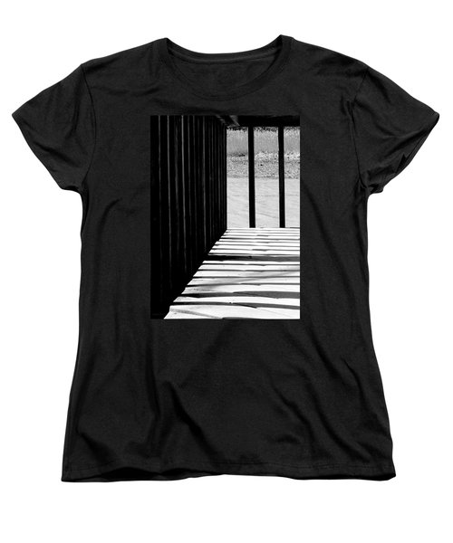 Women's T-Shirt (Standard Cut) featuring the photograph Angles And Shadows - Black And White by Shawna Rowe