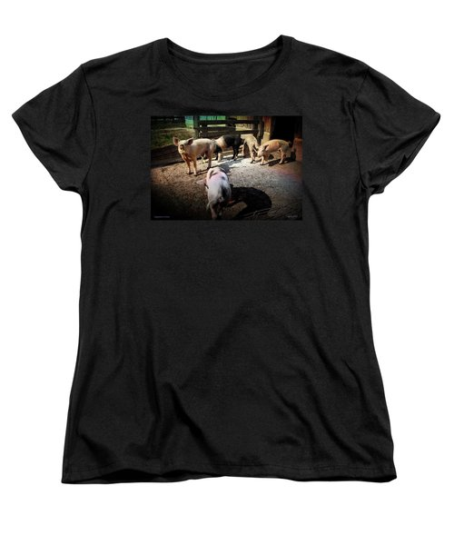 Women's T-Shirt (Standard Cut) featuring the photograph Angustown Piggies by Cynthia Lassiter