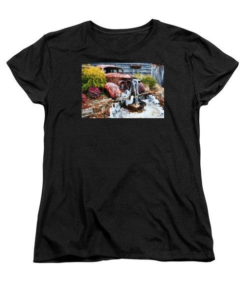 Antique Car Water Fountain Columbus Georgia Women's T-Shirt (Standard Cut) by Vizual Studio