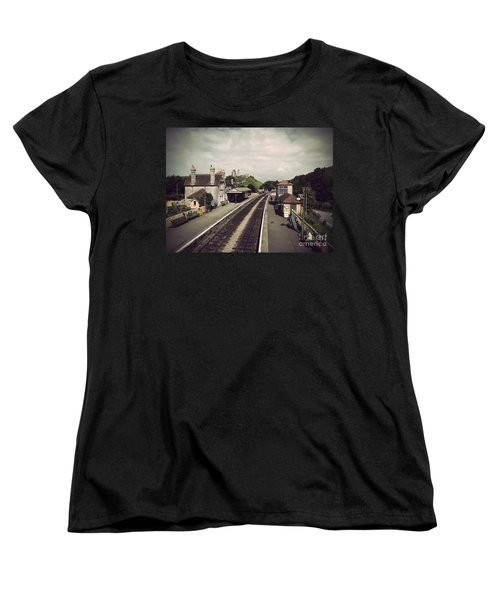 Women's T-Shirt (Standard Cut) featuring the photograph Antique Corfe Castle by Linsey Williams