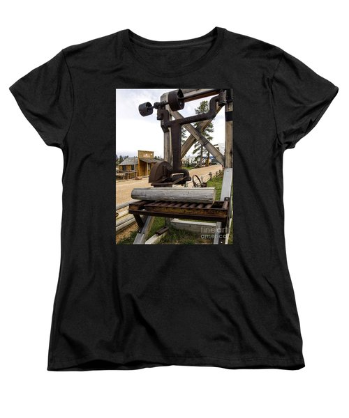 Women's T-Shirt (Standard Cut) featuring the photograph Antique Table Saw Tool Wood Cutting Machine by Paul Fearn