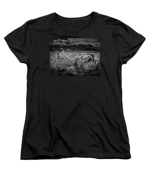 Antlers In Black And White Women's T-Shirt (Standard Cut) by Andrew Matwijec