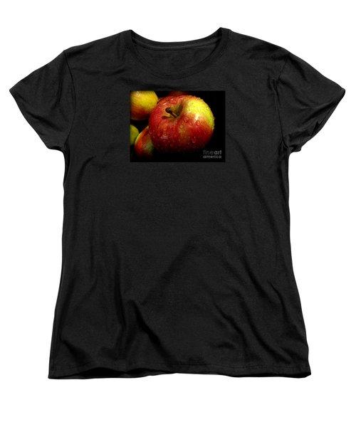 Apple In The Rain Women's T-Shirt (Standard Cut) by Miriam Danar