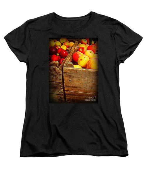Women's T-Shirt (Standard Cut) featuring the photograph Apples In Old Bin by Miriam Danar