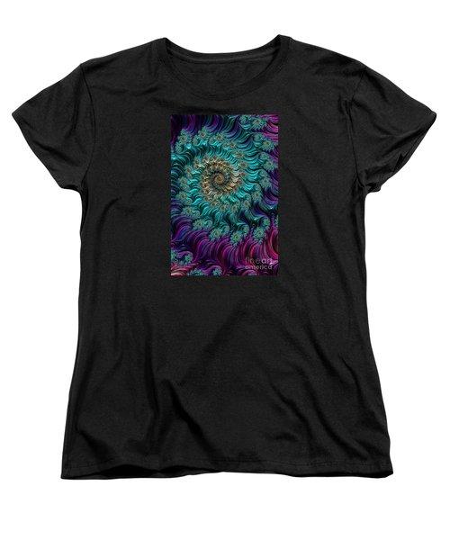Aqua Swirl Women's T-Shirt (Standard Cut) by Steve Purnell