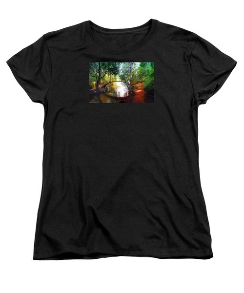 Women's T-Shirt (Standard Cut) featuring the painting Arched Bridge Over Brilliant Waters by LaVonne Hand