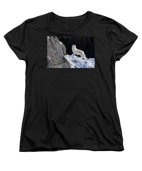 Women's T-Shirt (Standard Cut) featuring the photograph Arctic Wolf On Rock Cliff by Wolves Only