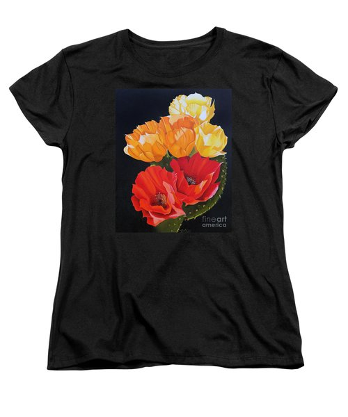 Women's T-Shirt (Standard Cut) featuring the painting Arizona Blossoms - Prickly Pear by Debbie Hart
