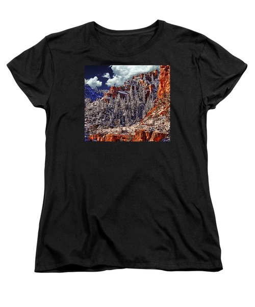 Arizona Secret Mountain Wilderness In Winter Women's T-Shirt (Standard Cut) by Bob and Nadine Johnston