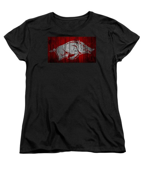 Arkansas Razorbacks Barn Door Women's T-Shirt (Standard Cut) by Dan Sproul