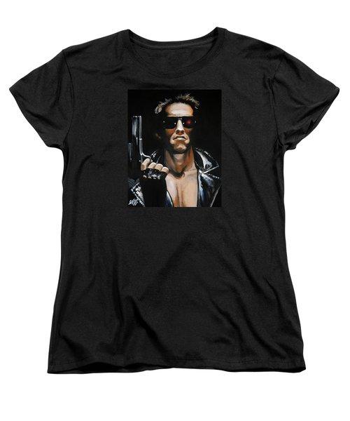 Arnold Schwarzenegger - Terminator Women's T-Shirt (Standard Cut) by Tom Carlton