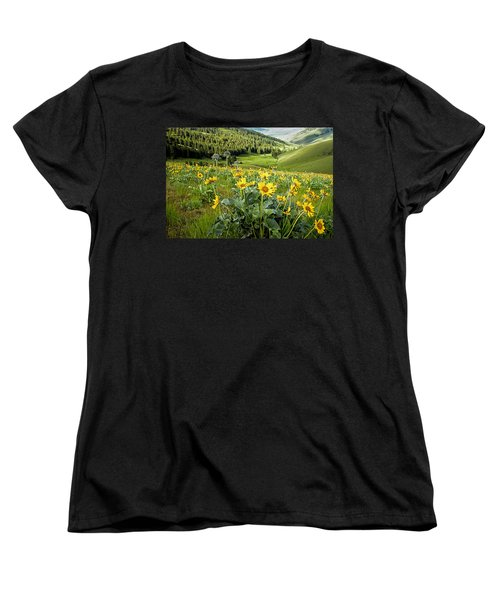 Women's T-Shirt (Standard Cut) featuring the photograph Arrow Leaf Balsam Root by Jack Bell