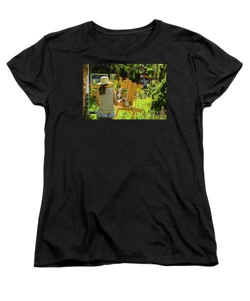 Art In The Garden Women's T-Shirt (Standard Cut) by Mary Carol Story