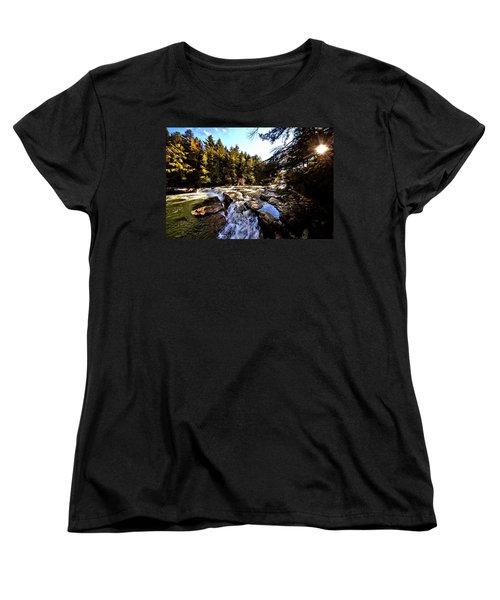 As Lawrence Welk Used To Say-ah Waterfall Waterfall Women's T-Shirt (Standard Cut) by Robert McCubbin