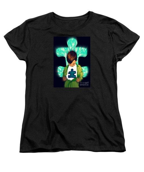 Autism Black Focused Women's T-Shirt (Standard Cut) by Justin Moore