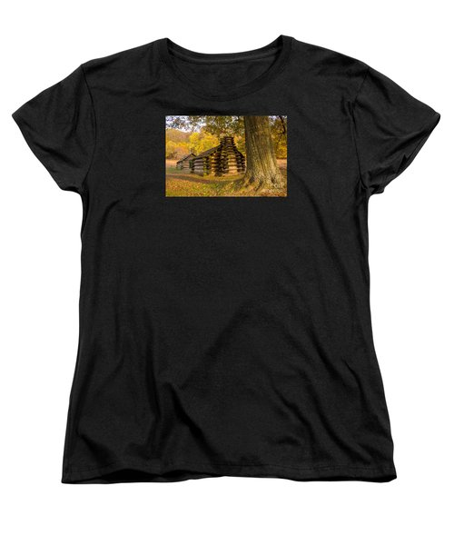 Women's T-Shirt (Standard Cut) featuring the photograph Autumn And The Huts At Valley Forge by Rima Biswas