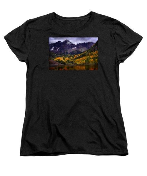 Women's T-Shirt (Standard Cut) featuring the photograph Autumn At Maroon Bells by Ellen Heaverlo