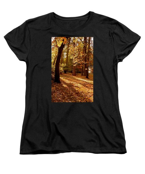 Autumn Country Lane Evening Women's T-Shirt (Standard Cut) by Michele Myers