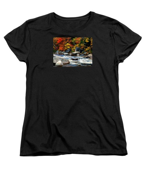 Women's T-Shirt (Standard Cut) featuring the painting Autumn Creek by Bruce Nutting