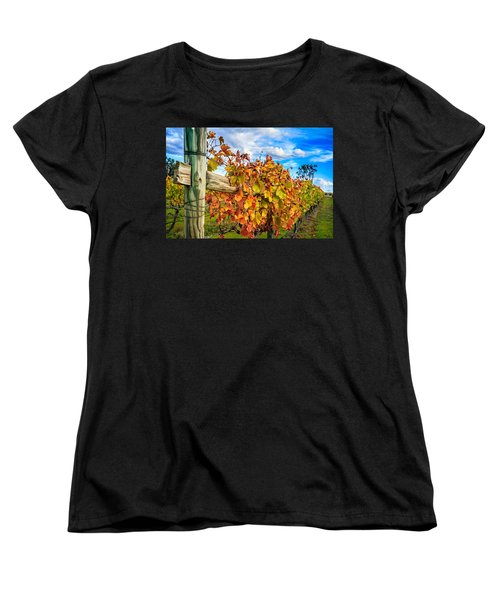 Autumn Falls At The Winery Women's T-Shirt (Standard Cut) by Peta Thames