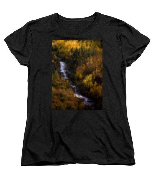 Women's T-Shirt (Standard Cut) featuring the photograph Autumn Forest Falls by Ellen Heaverlo