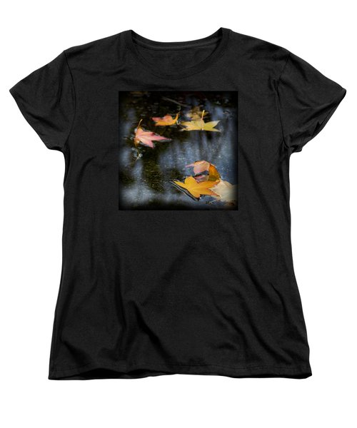Autumn Leaves On Water Women's T-Shirt (Standard Cut) by Yulia Kazansky