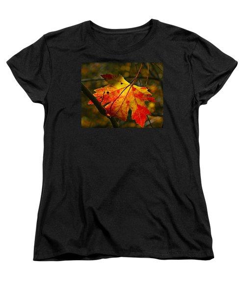 Autumn Maple Leaf Women's T-Shirt (Standard Cut) by Richard Engelbrecht