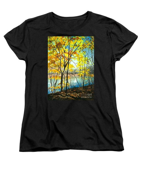 Autumn River Walk Women's T-Shirt (Standard Cut) by Barbara Jewell