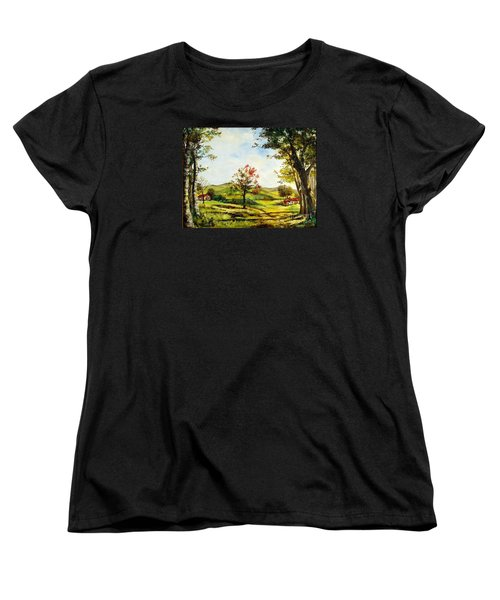 Women's T-Shirt (Standard Cut) featuring the painting Autumn Road by Lee Piper