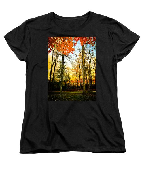 Women's T-Shirt (Standard Cut) featuring the photograph Autumn Sunset  by Sara Frank