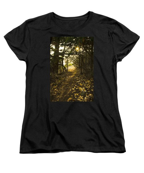 Women's T-Shirt (Standard Cut) featuring the photograph Autumn Trail In Woods by Yulia Kazansky